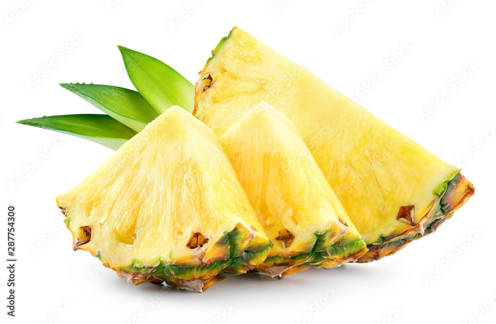 Fototapeta Pineapple slices with leaves. Pineapple isolate. Cut pineapple on white.