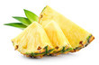 canvas print picture - Pineapple slices with leaves. Pineapple isolate. Cut pineapple on white.