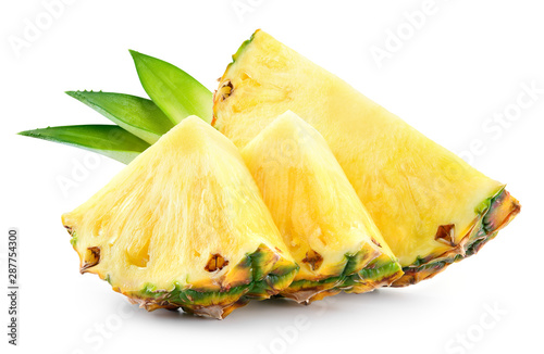 Fotomural  Pineapple slices with leaves