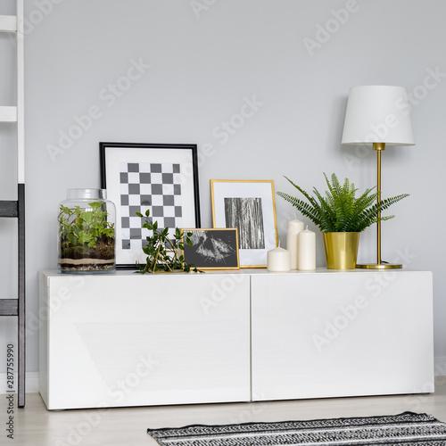 Valokuvatapetti Simple, white sideboard
