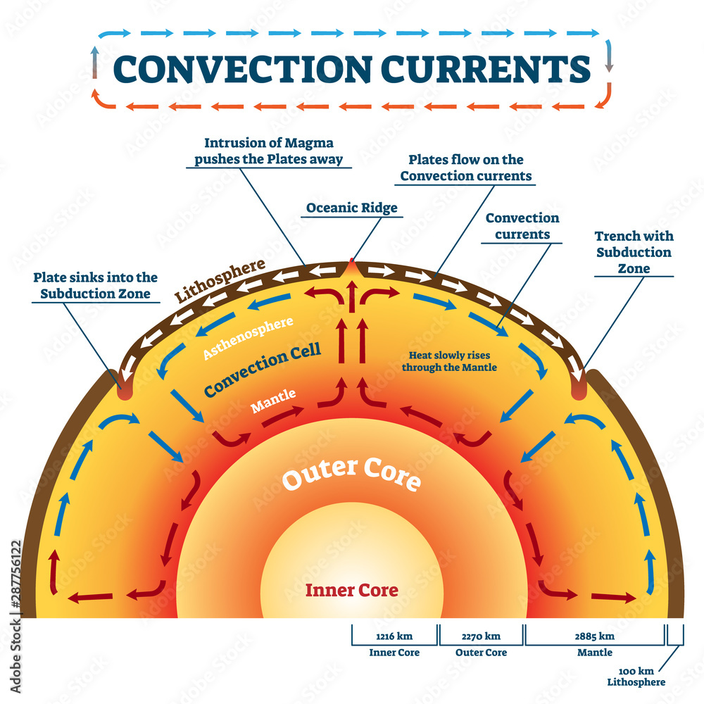 Fototapety, obrazy: Convection Currents vector illustration. Labeled educational process scheme