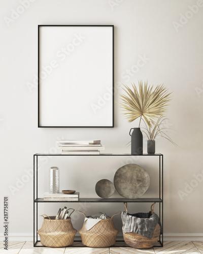 Fototapeta mock up poster frame in modern interior background, living room, Scandinavian style, 3D render, 3D illustration obraz na płótnie