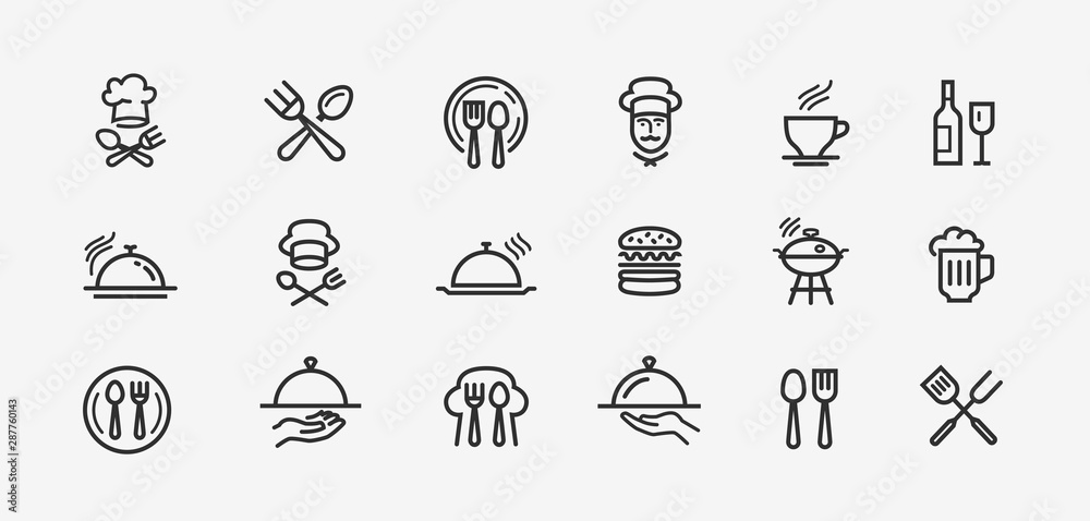 Fototapety, obrazy: Food icons set. Collection vector black outline logo for mobile apps web or site design