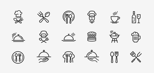 Food icons set. Collection vector black outline logo for mobile apps web or site design