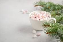 Cup Of Hot Chocolate With Marshmallows On A Gray Concrete Background. Christmas Concept.