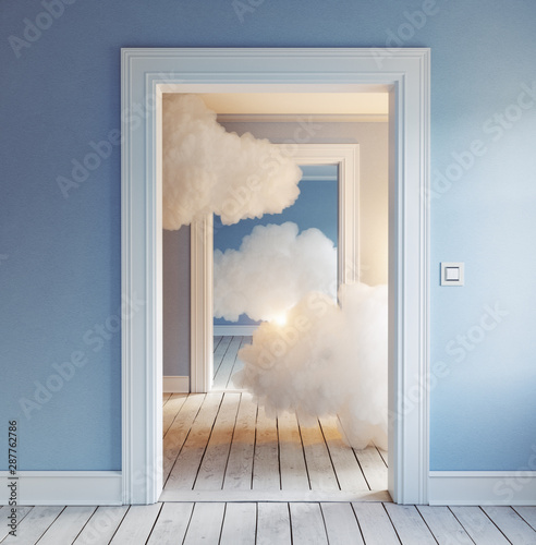 clouds in the room. Wallpaper Mural