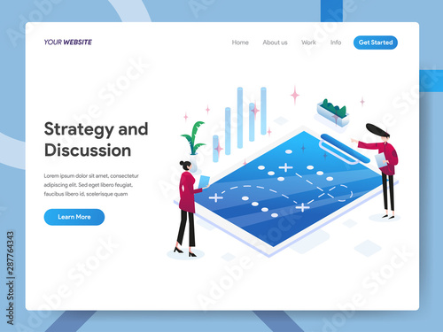 Photo  Landing page template of Strategy and Discussion Isometric Illustration Concept