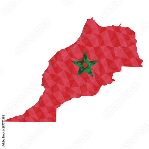 Photo Polygonal flag of Morocco on contour of the country map