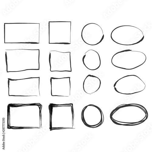 Fototapety, obrazy: Hand drawn frames. Vintage doodle sketch picture frame doodle labels