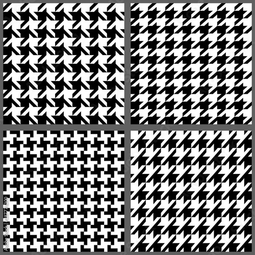 Set of classic fashion houndstooth seamless patterns Poster Mural XXL