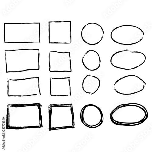 Fototapety, obrazy: Black circle and square frames. Brush strokes. design elements set