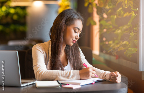 Brunette intelligent girl studying in cafe, making notes Canvas Print