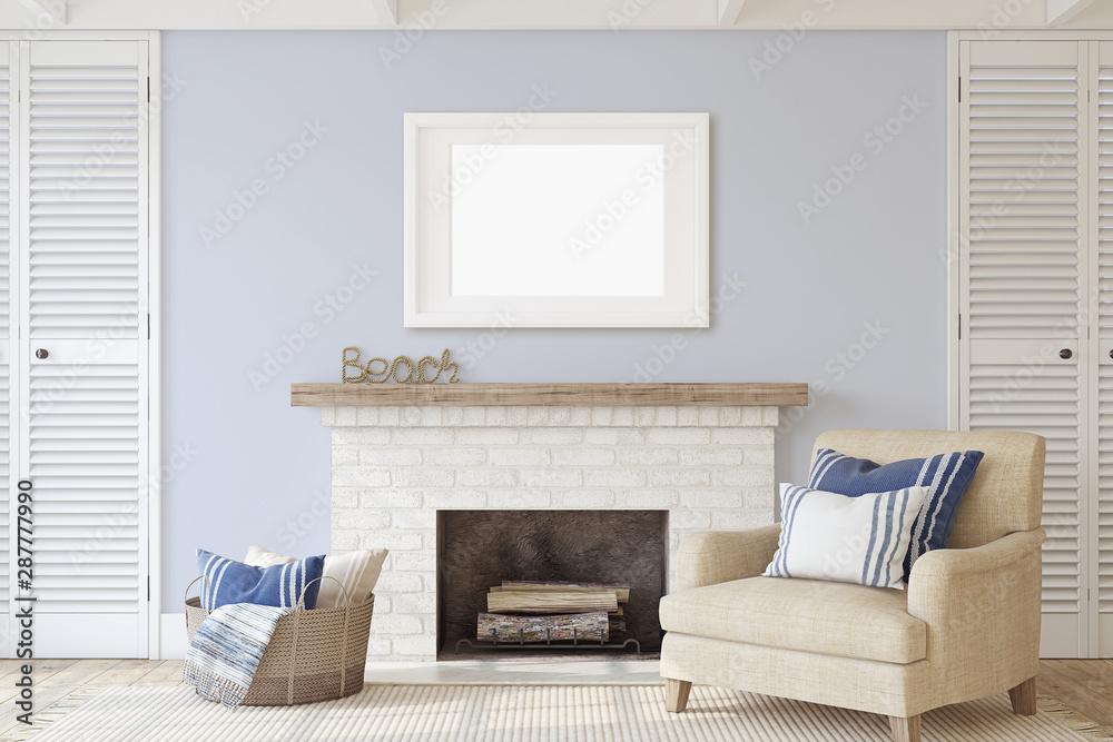 Fototapeta Interior with fireplace. 3d render.