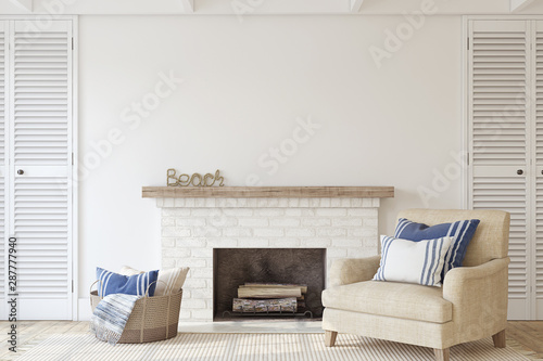 Poster Personal Interior with fireplace. 3d render.