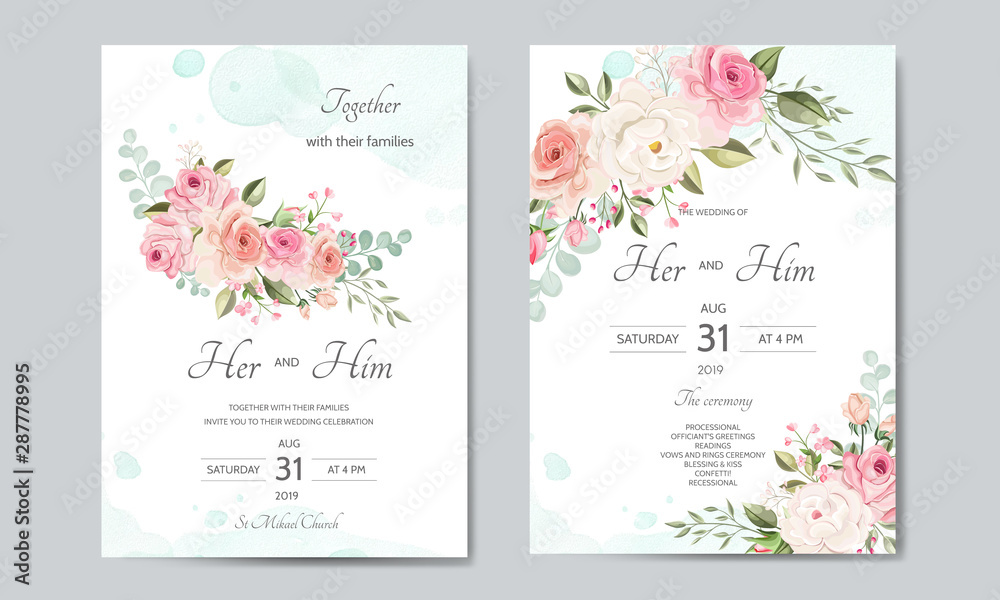 Obraz Wedding Invitation Card Template Set With Beautiful