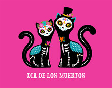 Day Of The Dead, Dia De Los Muertos, Cats Skulls And Skeleton Decorated With Colorful Mexican Elements And Flowers. Fiesta, Halloween, Holiday Poster, Party Flyer. Vector Illustration