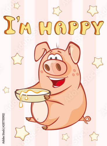 Türaufkleber Babyzimmer Happy Birthday Card Little Pig. Vector Greeting Card. Happy Moment. Congratulation