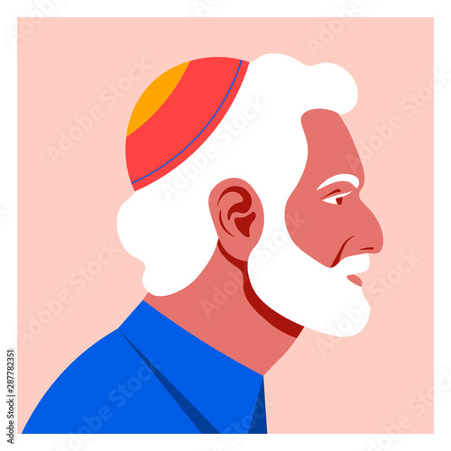 Fototapeta Profile of an old jew man. The face of the grandfather is on the side. Avatar. Vector Flat Illustration obraz