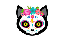 Day Of The Dead, Dia De Los Moertos, Cute Cat Head Skull And Skeleton Decorated With Colorful Mexican Elements And Flowers. Fiesta, Halloween, Holiday Poster, Party Flyer. Vector Illustration