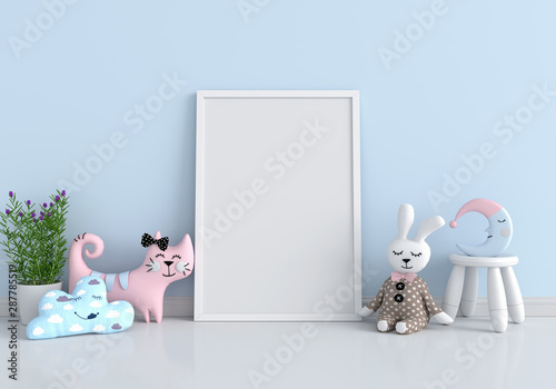 Empty photo frame for mockup and doll on floor, 3D rendering - 287785519