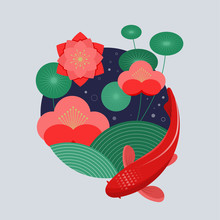 Koi Fish, Red Carp And Flowers. Vector Illustration