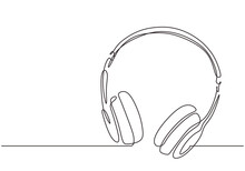 Continuous One Line Drawing Of Headphones Vector Illustration Minimalism Music Symbol For Listening Music.