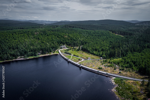 The Bedrichov Dam Reservoir was built in 1902-1905 on the Black Neisse River at the instigation of the flood in 1897 and is used for water and energy purposes Canvas-taulu