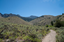 Hiker Makes Her Way Up To Goldbug Hot Springs In Idaho, In The Salmon Challis National Forest