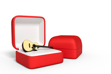 Red Box Ring White Backgraund 3d Rendering