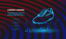 Neon Football Boot Illustration. Vector Outline Soccer Boot For Landing Page Template.