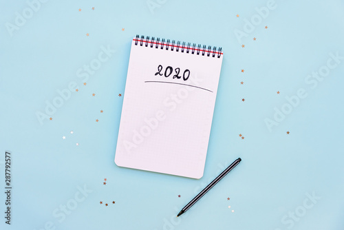 Valokuvatapetti Top view of empty notebook ready for New 2020 Year planing or wish list