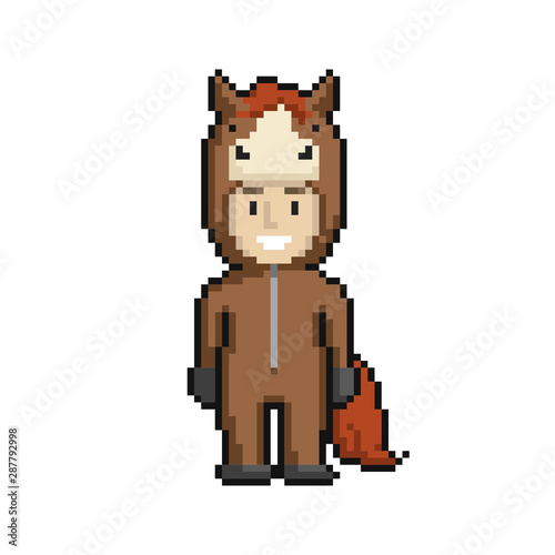 сute Cartoon Kid In Horse Costume Pixel Art On White