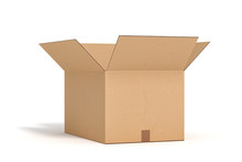 Open Cardboard Box On White Backgroaund 3d Rendering