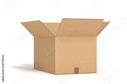 Cuadros en Lienzo open cardboard box on white backgroaund 3d rendering