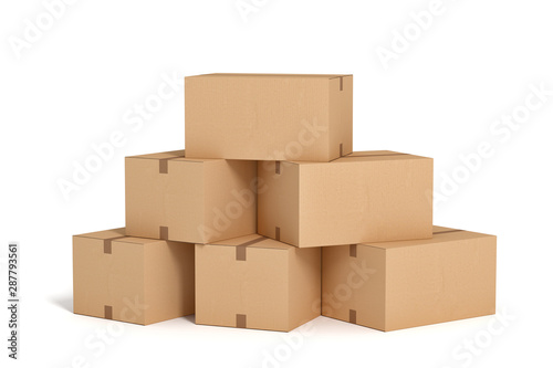 cardboard box on white backgroaund 3d rendering Canvas