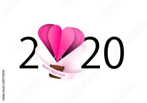 Happy New Year 2020 Heart Air Balloon Love Theme Buy This