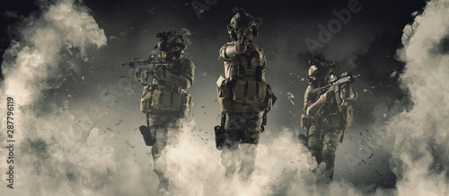 Fotografering Special soldier in action military concept