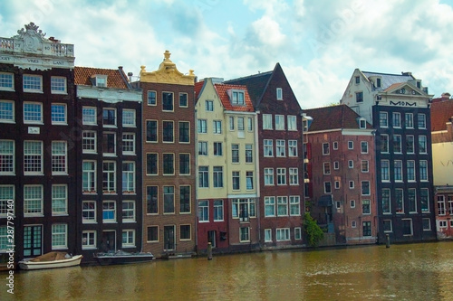 Urban scene with canal houses in Amsterdam, Netherlands, Europe