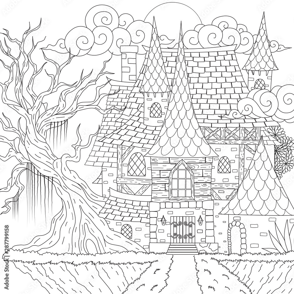 Fototapety, obrazy: Drawing medieval haunted house, happy Halloween theme, for printing, coloring book and so on. Vector illustration