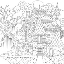 Drawing Medieval Haunted House, Happy Halloween Theme, For Printing, Coloring Book And So On. Vector Illustration
