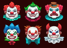 Creepy Clown Faces Set. Scary ...