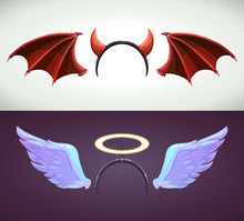 Angel And Devil Decor Elements. Angel Wing And Halo.
