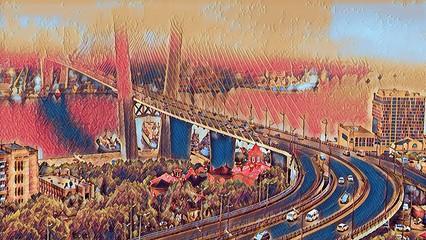 FototapetaComputer image of car bridge and sea port