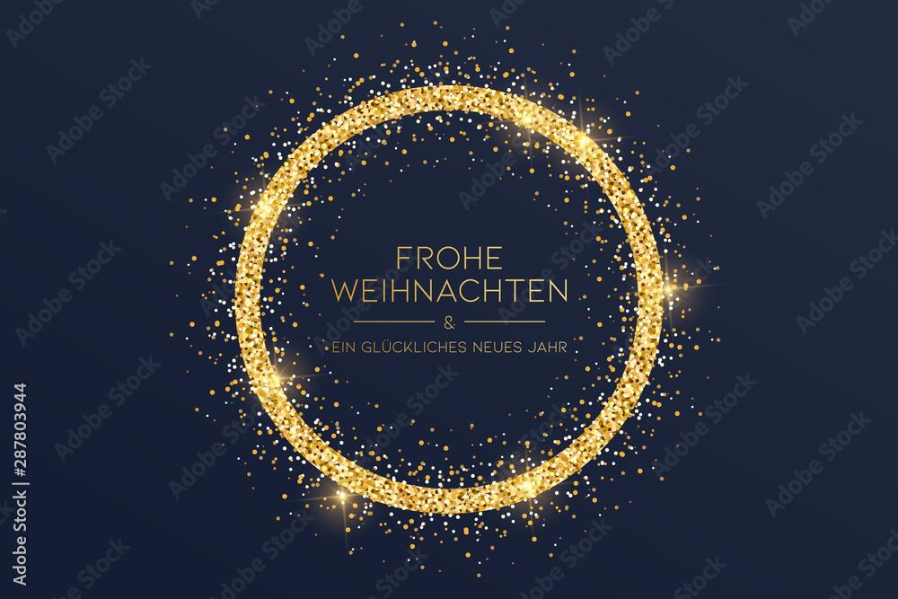 Fototapeta goldene Weihnachtskarte mit Kreis
