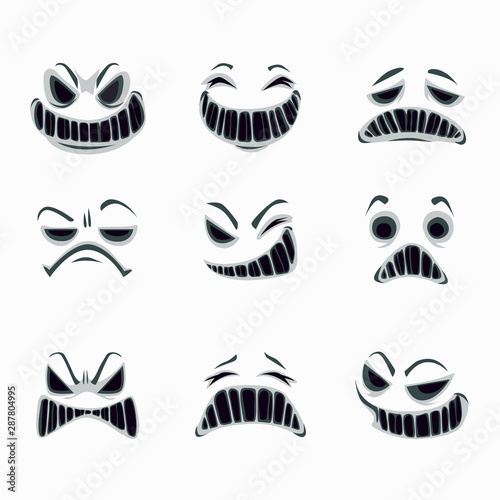 Photo  Scary ghost faces on the white background. Vector set.