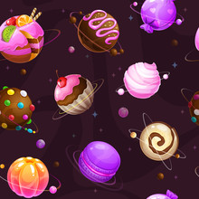 Seamless Pattern With Cute Cartoon Sweet Planets On The Space Background.