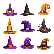 Cartoon Witch Hats, Colorful Icons Set. Wizard Hat Collection. Halloween Costume Element.
