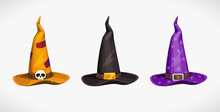 Cartoon Witch Hat, Colorful Icons Set. Halloween Costume Element.