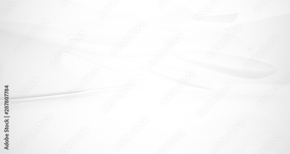 Fototapety, obrazy: White smooth abstract architectural background. 3D illustration and rendering
