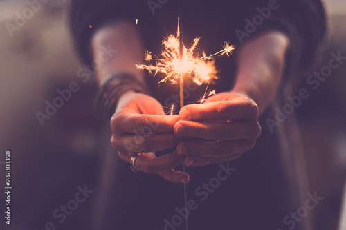 Tableau sur Toile Concept of party nightlife and new year eve 2020 - close up of people hands with